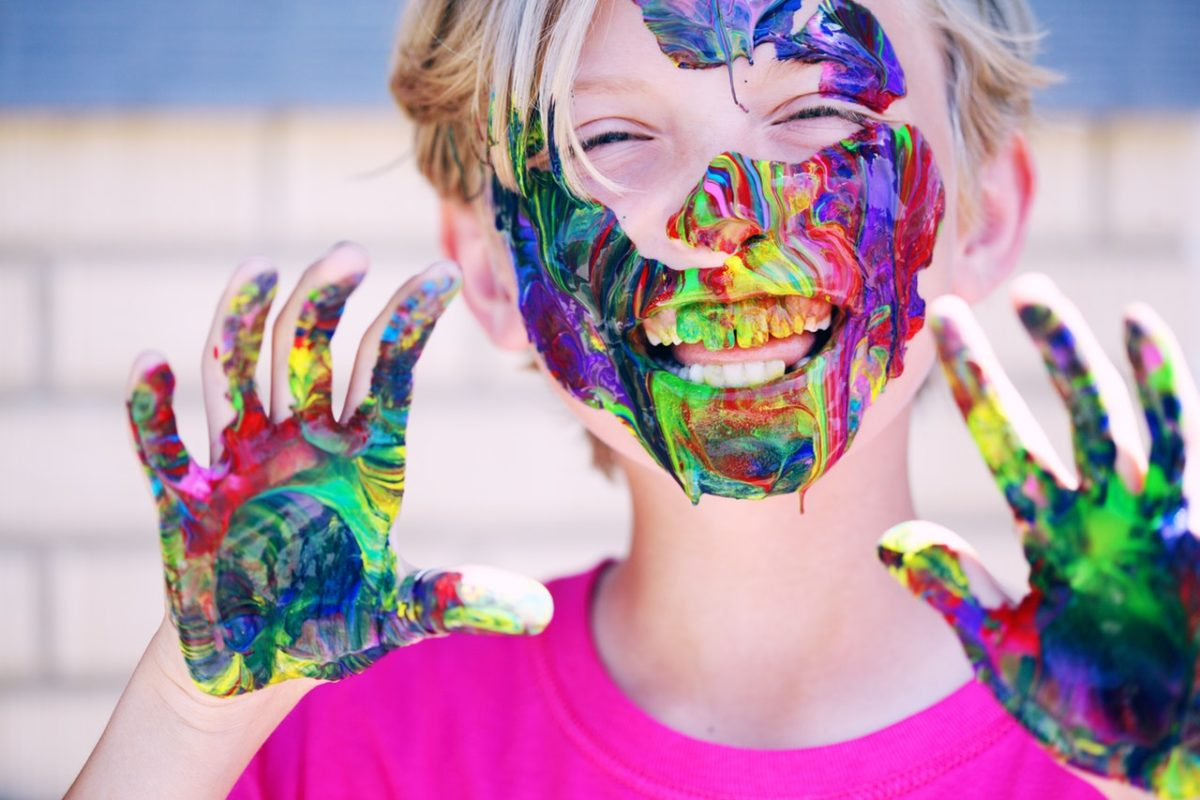 a kid with painted face