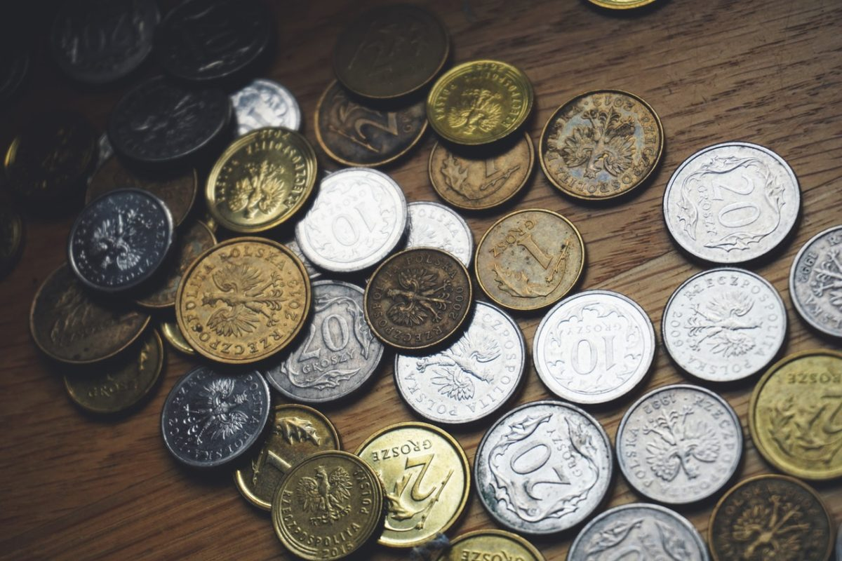 Coins on a surface