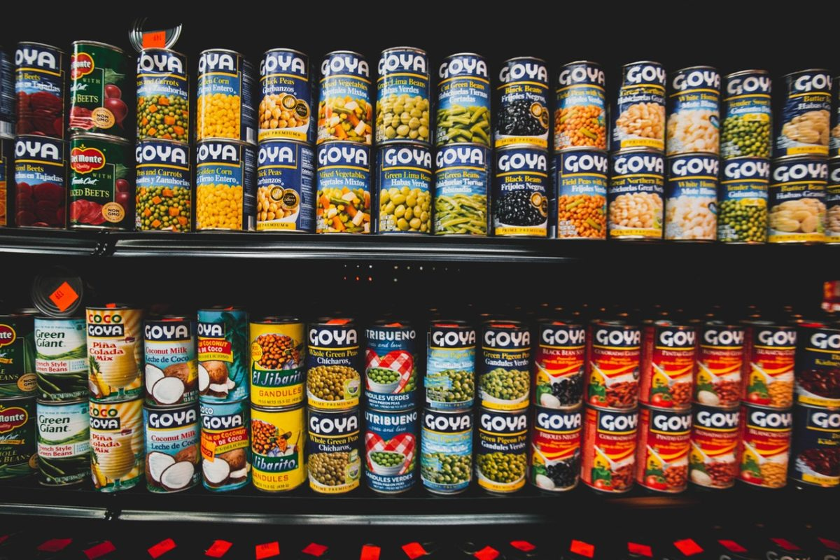 canned foodstuff on shelves