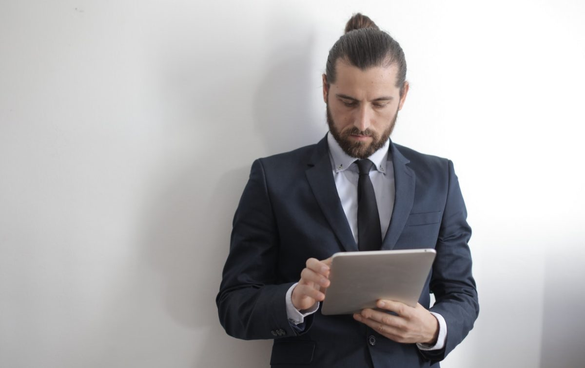 a man with a tablet